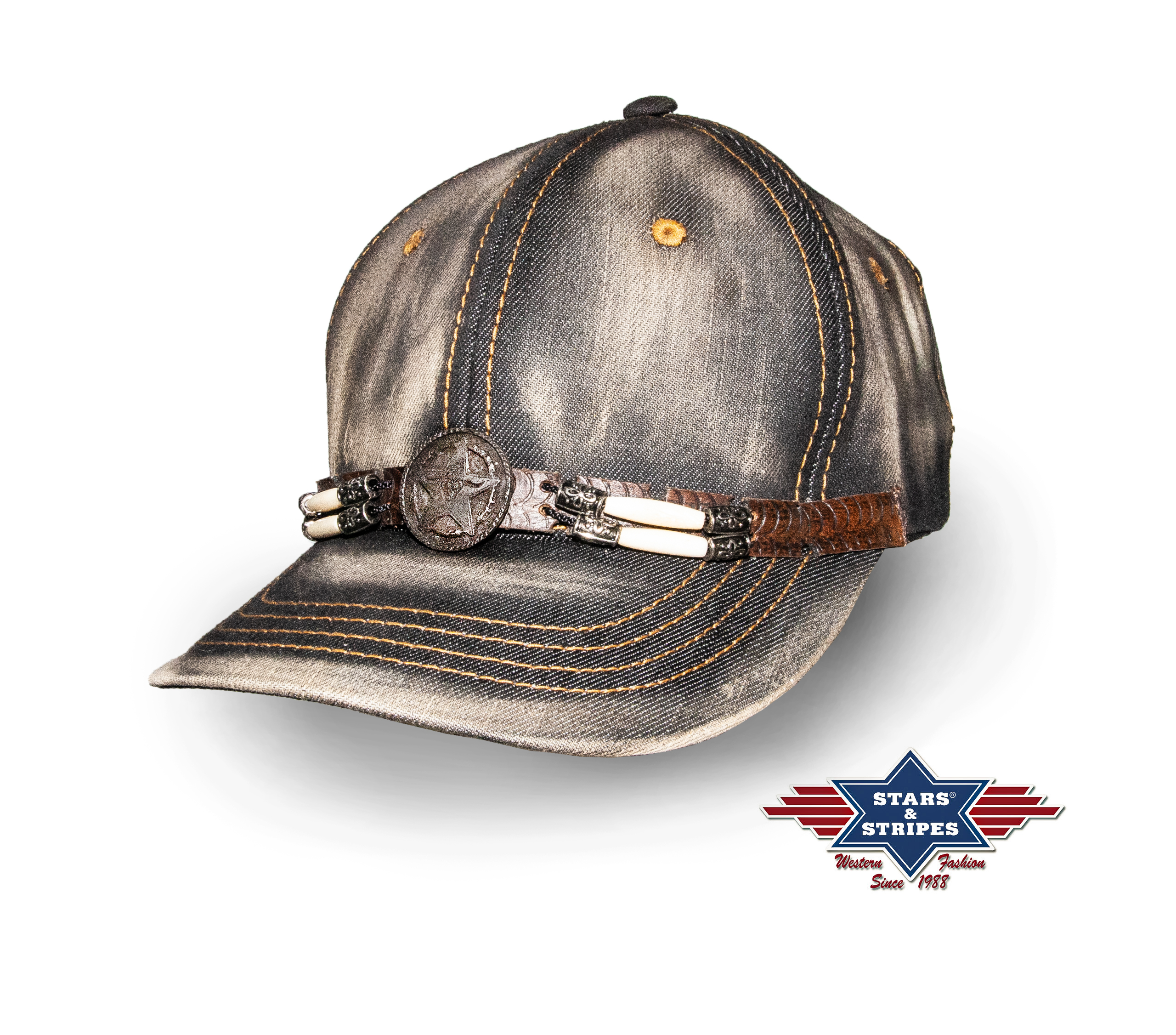 Cappellino Stars & Stripes Black Washed Denim