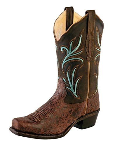 Stivali in pelle Old West Turquoise Inlay