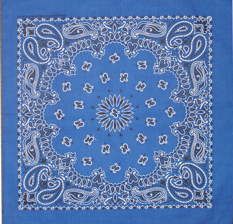 Bandana royal blue western design