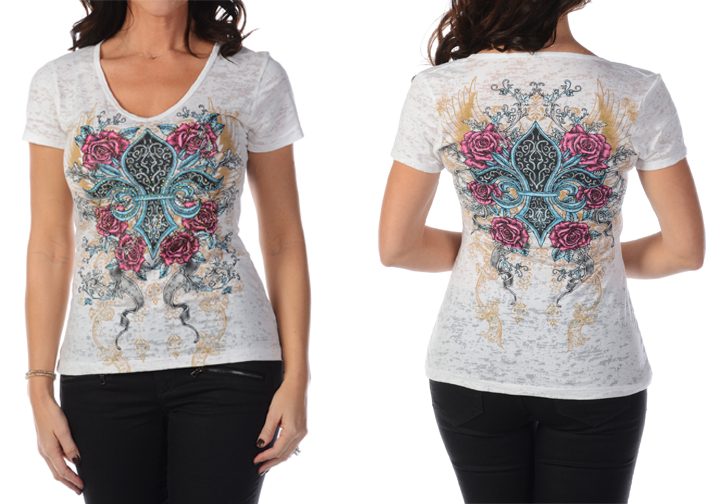 T-Shirt Liberty Wear wrapped in roses white