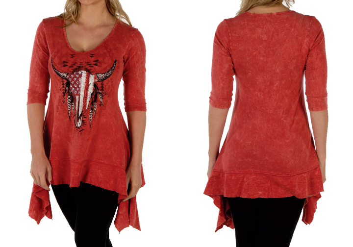 Maglia Liberty Wear red tribal skull