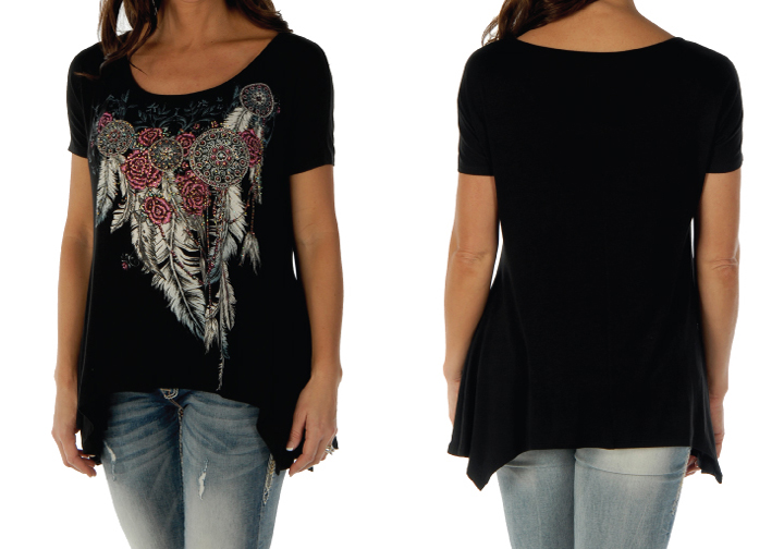 T-Shirt Liberty Wear Feathers and Conchos Mini Sharktail Black