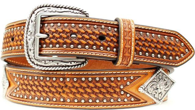 Cintura in pelle Ariat brown diamond conchos