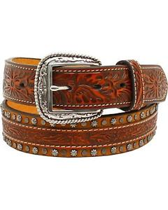 Cintura in pelle Ariat brown small conchos