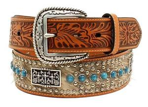 Cintura in pelle Ariat calf hair turquoise conchos