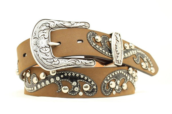 Cintura in pelle Ariat round conchos brown