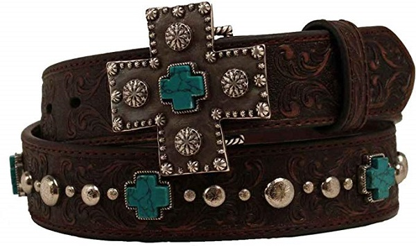 Cintura in pelle Ariat turquoise cross conchos