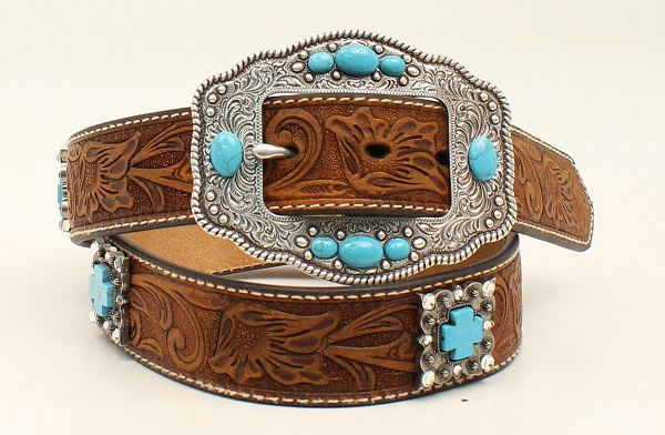 Cintura in pelle Ariat cross conchos tq