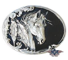 Fibbia horse head and feather black