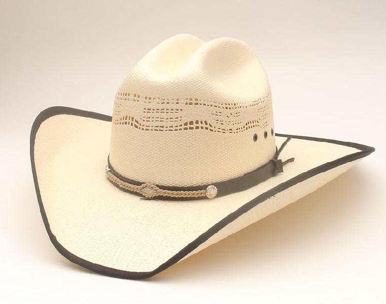 Cappello Western leather and rope band