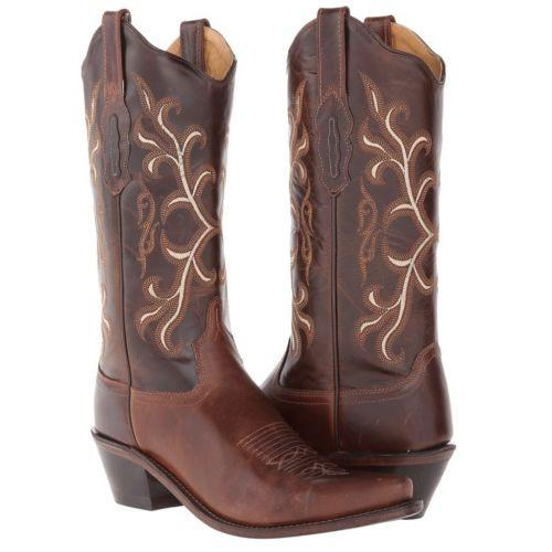 Stivali in pelle Old West brown vintage emboidered