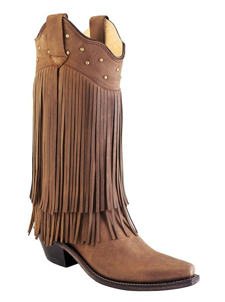 Stivali in pelle Old West frange brown