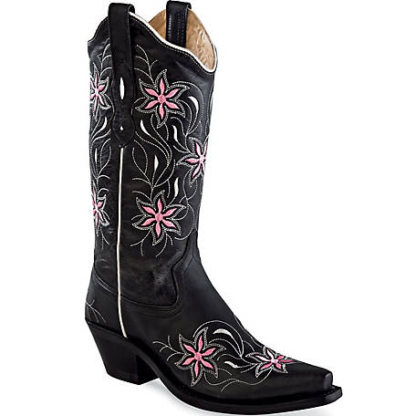 Stivali in pelle Old West Black & Pink Flowers