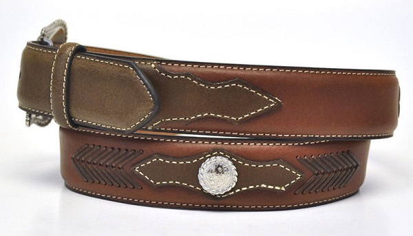 Cintura in pelle Round Conchos Brown