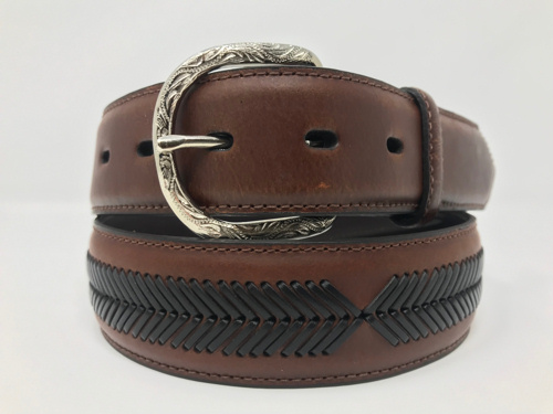 Cintura in pelle Dark Brown and Black