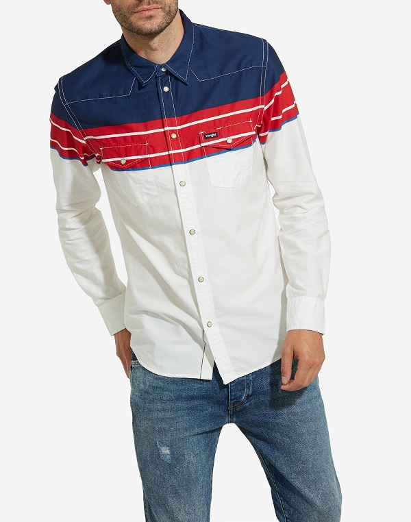Camicia Wrangler western blue white red