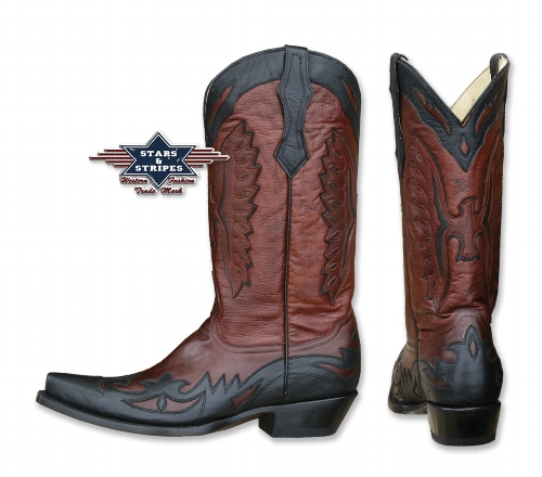 Stivali in pelle Stars & Stripes black and brown
