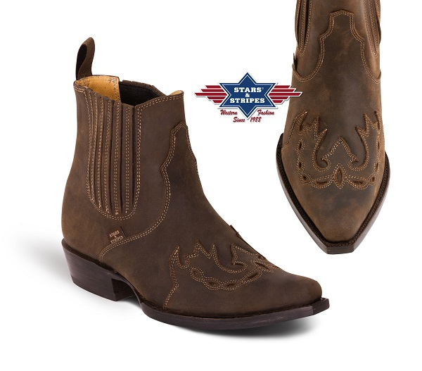 Stivaletti bassi in pelle Stars & Stripes brown inlay
