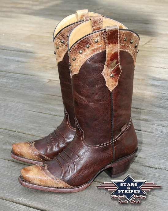 Stivali in pelle Stars & Stripes brown cowhide