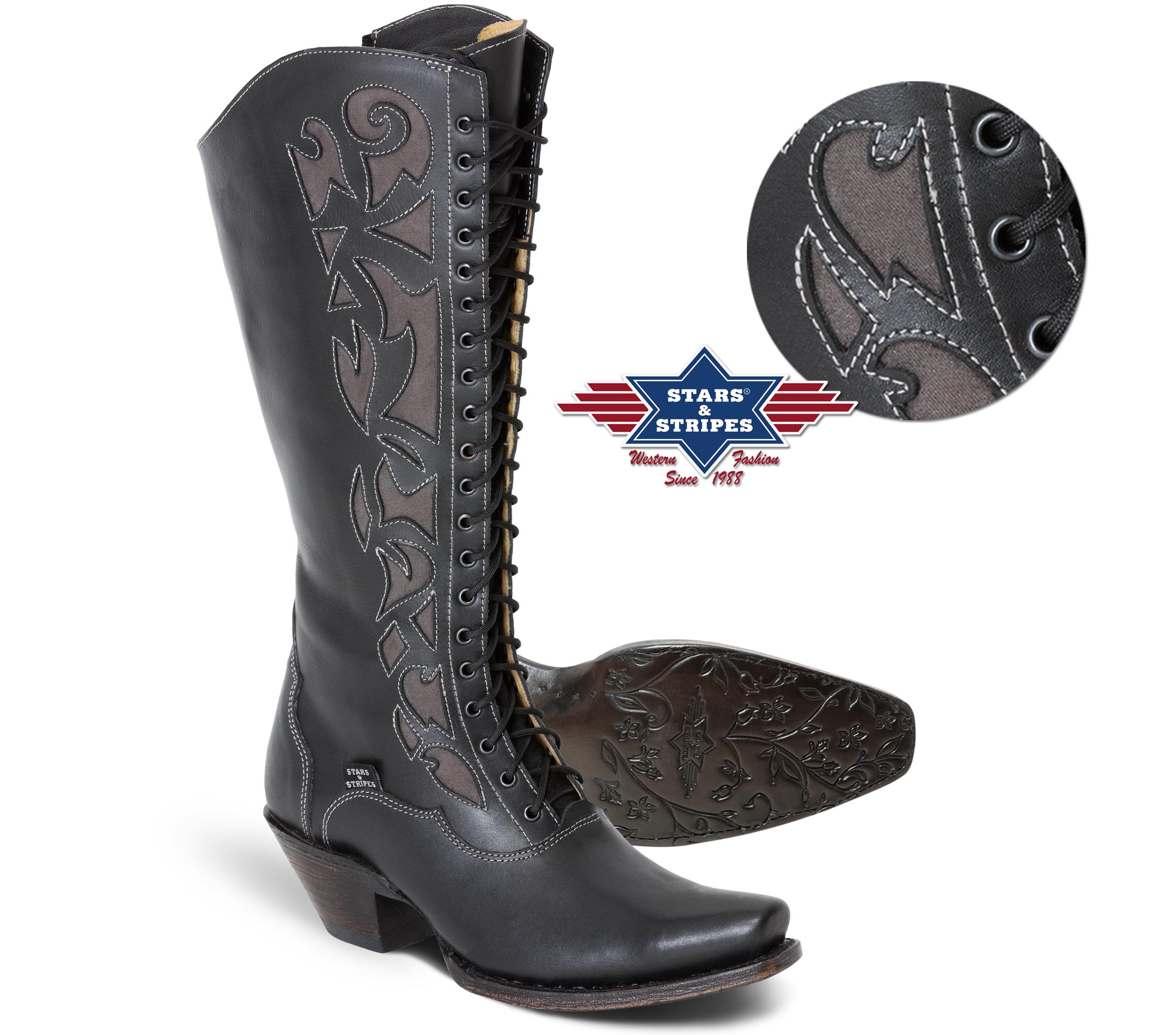 Stivali alti in pelle Stars & Stripes black con lacci