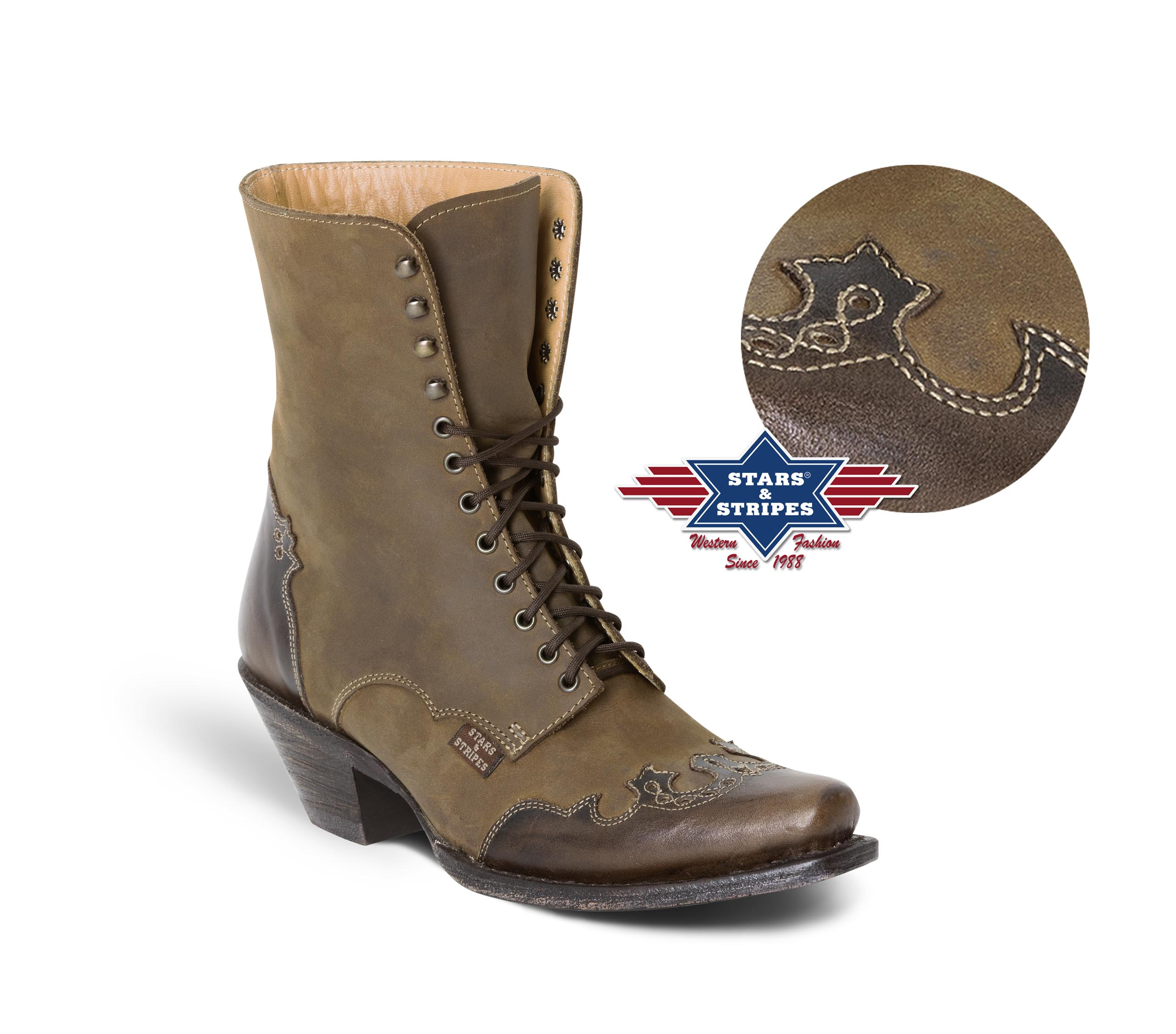 Stivali bassi in pelle Stars & Stripes brown con lacci