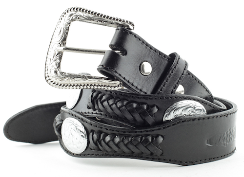 Cintura in pelle Stars & Stripes black and oval conchos