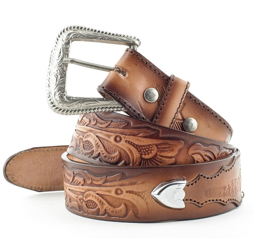 Cintura in pelle Stars & Stripes brown and inlay
