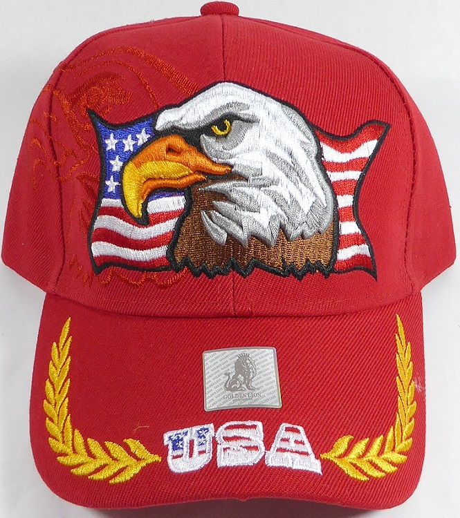 Cappellino red USA flag and eagle