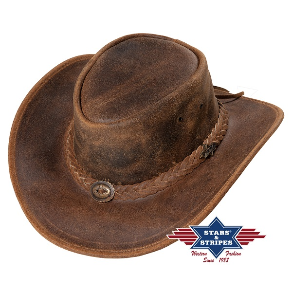 Cappello western in pelle Stars & Stripes Crazy Horse