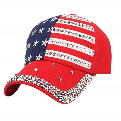 Cappellino U.S.A. Bling Red