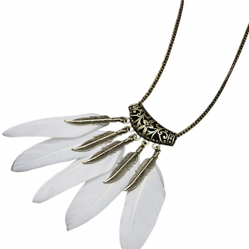 Collana white Feathers