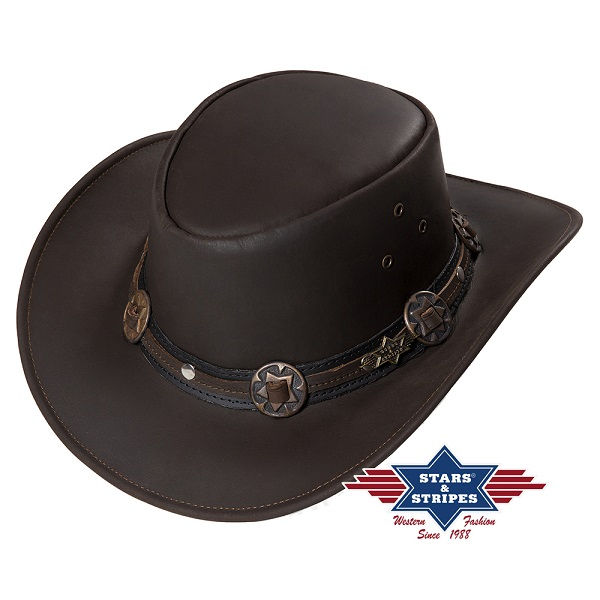 Cappello western in pelle Stars & Stripes Huck