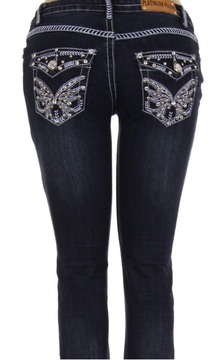 Jeans Platinum Plush angel wings