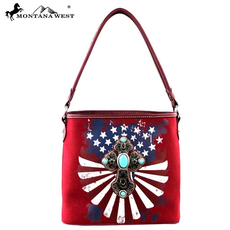 Borsa Montana West cross and USA flag