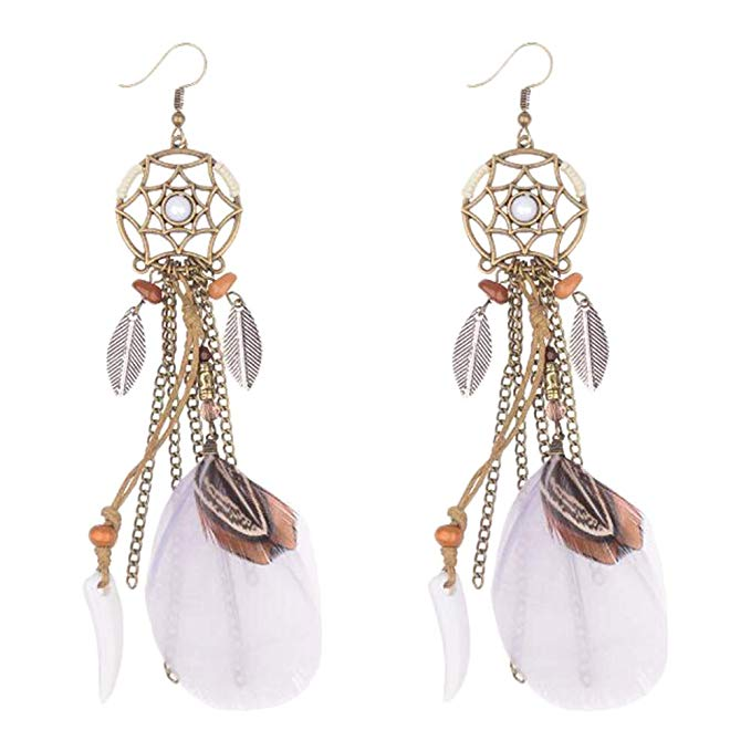 Orecchini dreamcatcher white brown