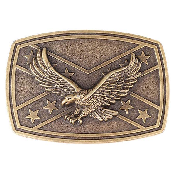 Fibbia Rebel Eagle Rectangle Brass