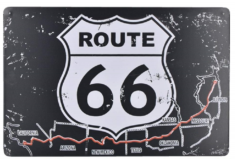 Insegna Route 66 black white