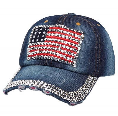 Cappellino U.S.A bling denim dark blue