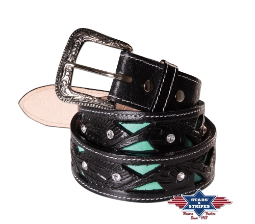 Cintura in pelle Stars & Stripes black and turquoise