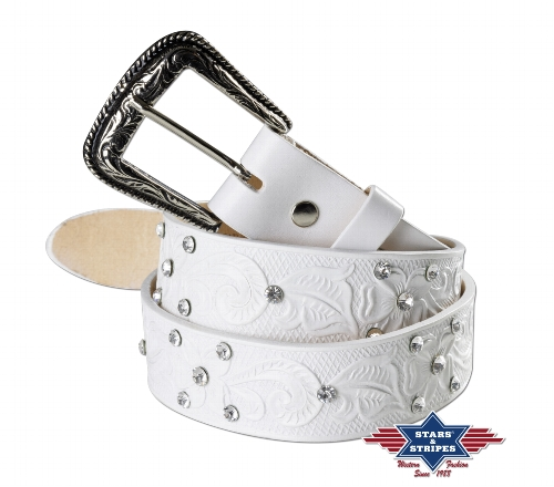 Cintura in pelle Stars & Stripes white and diamonds