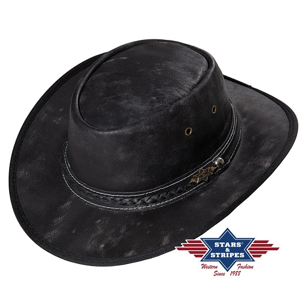 Cappello western in pelle Stars & Stripes Wylie